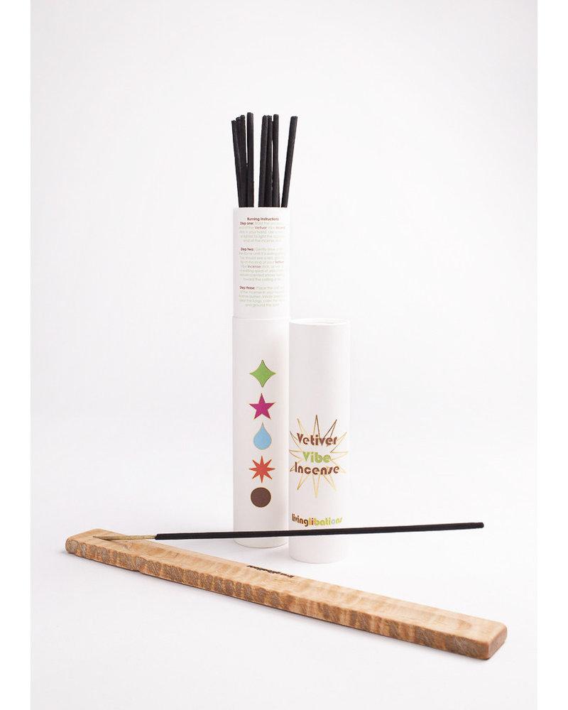 Living Libations Incense- 1 x 12 Sticks + Tube and Holder, Vetiver