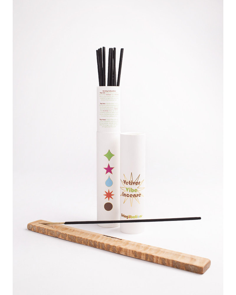 Living Libations Living Libations Incense- 1 x 12 Sticks + Tube and Holder, Vetiver