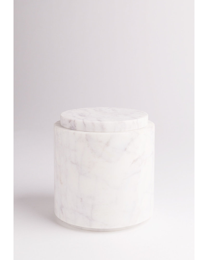 Round Marble Canister with Lid | Large