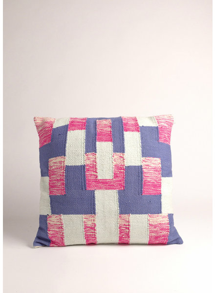 Pink and Blue Geometric Cushion