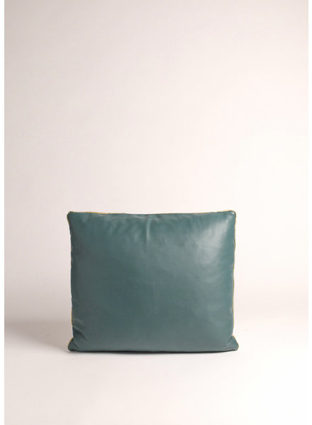 Teal/Wt reversible Leather Pillow