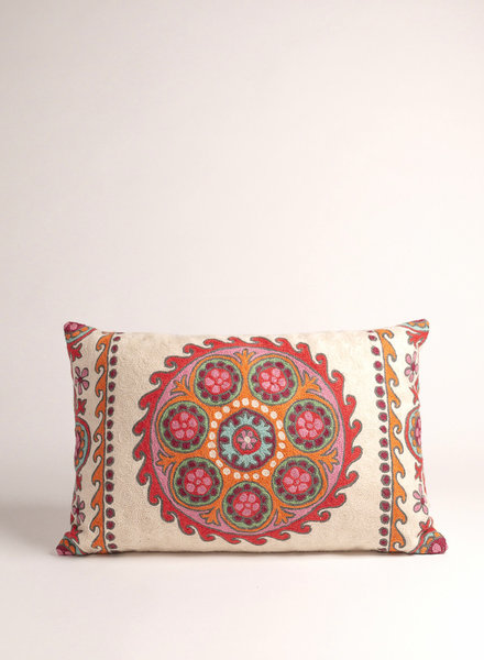 Multi Colored Suzani Circle Pillow
