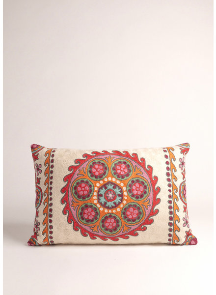 Multi Colored Suzani Circle Pillow