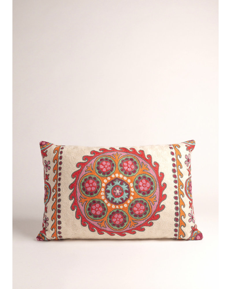 Natural Habitat Multi Colored Suzani Circle Pillow
