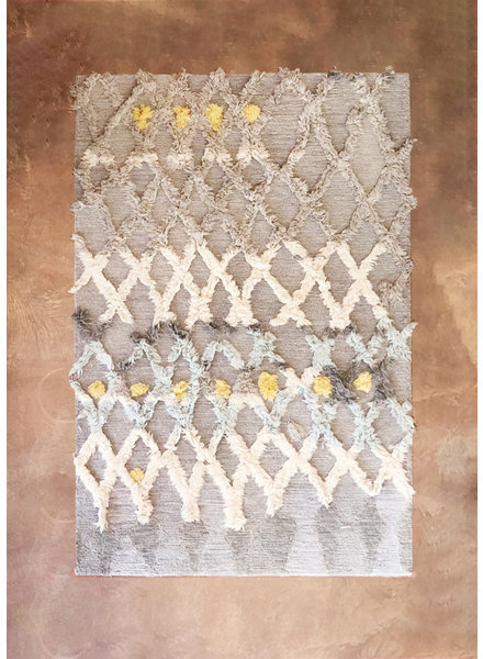 "Hand Tufted Rug, Grey, Lt. Blue and Yellow Dot -5'-0"" X 7'-6"""