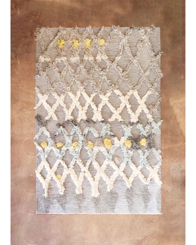 """Hand Tufted Rug, Grey, Lt. Blue and Yellow Dot -5'-0"""" X 7'-6"""""""