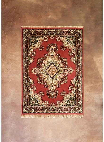 "Vintage Area Rug, 58 1/2"" x 39"", red, tan, black"