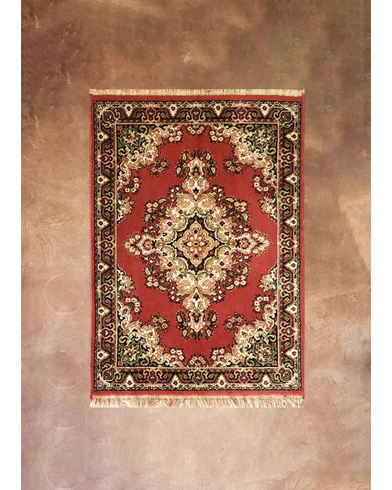 "Vintage Area Rug, 58 1/2"" x 39"", red, tan, black"