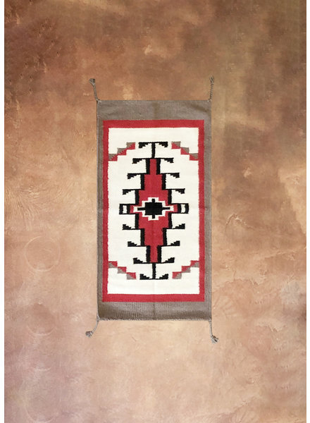 Small Wool Saddle Rug   White Red & Grey