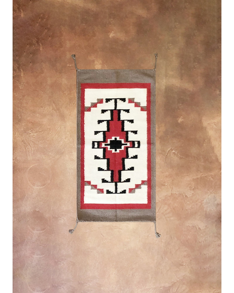 Small Wool Saddle Rug | White Red & Grey