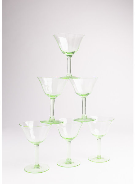 Vintage Green Crystal Wine Glass