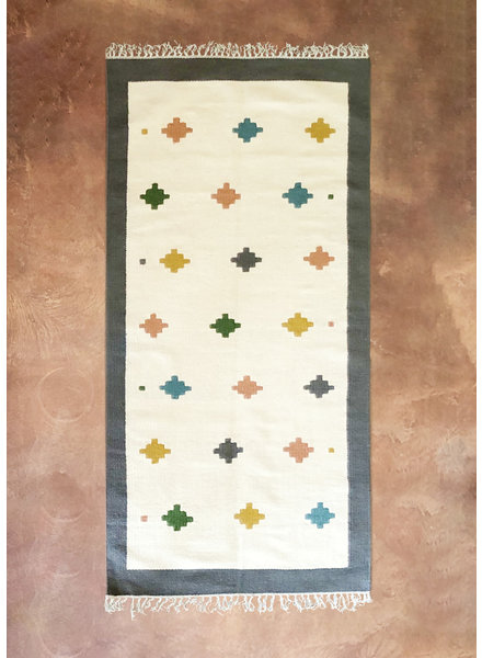 "Cream & Grey Pastel Tiled Rug | 38""x85"""