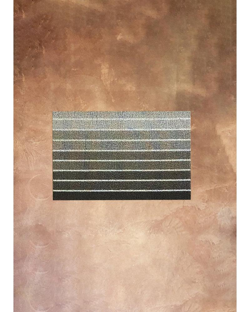 Block Stripe Shag Doormat in Taupe 18x28