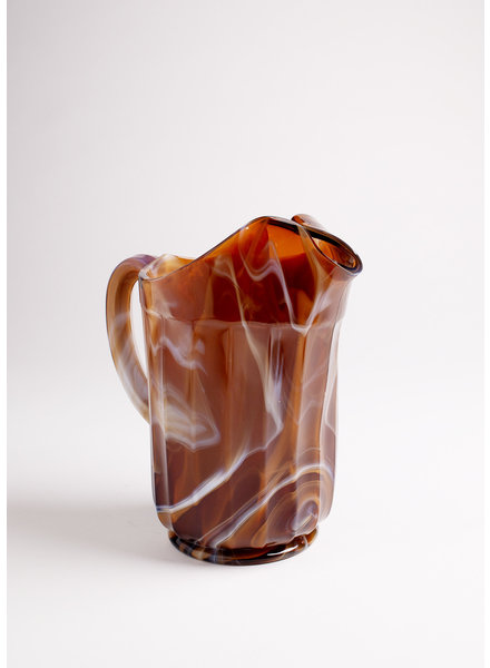 Brown Marble Slag Glass Pitcher
