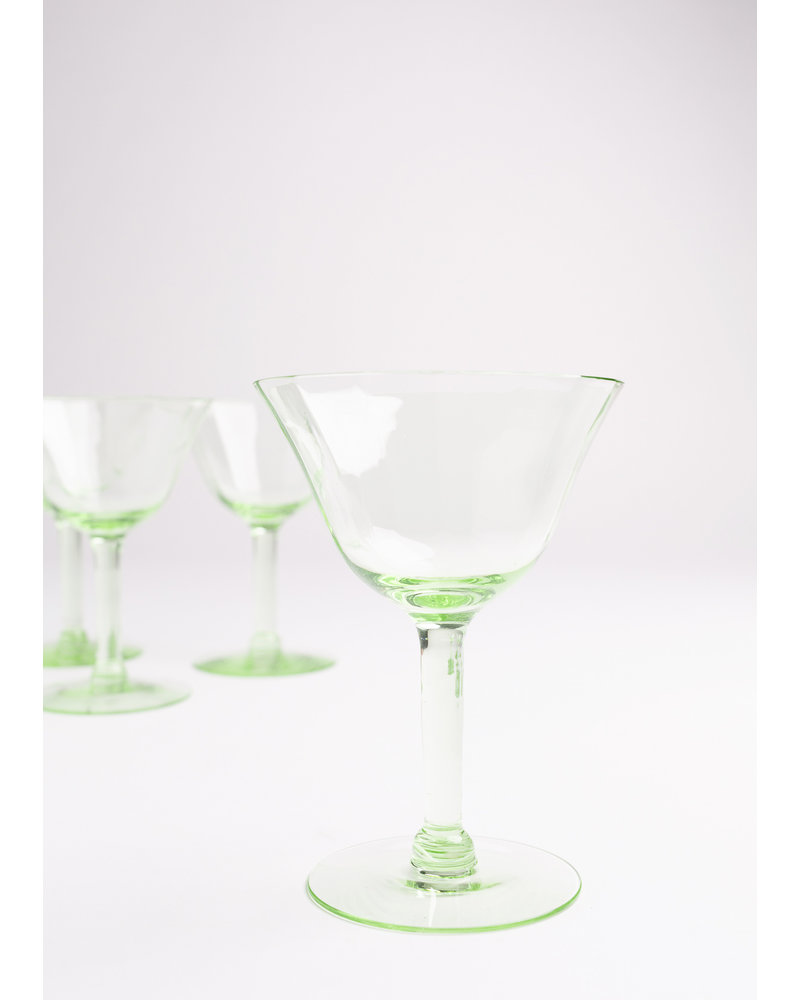 Vintage Green Crystal Wine Glass