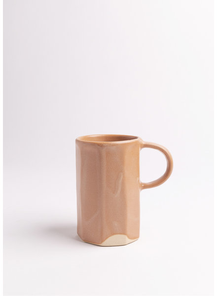 | Ridged Handmade Ceramic Mug in Salmon
