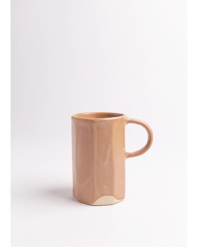 Dassie Artisan Ridged Handmade Ceramic Mug in Salmon
