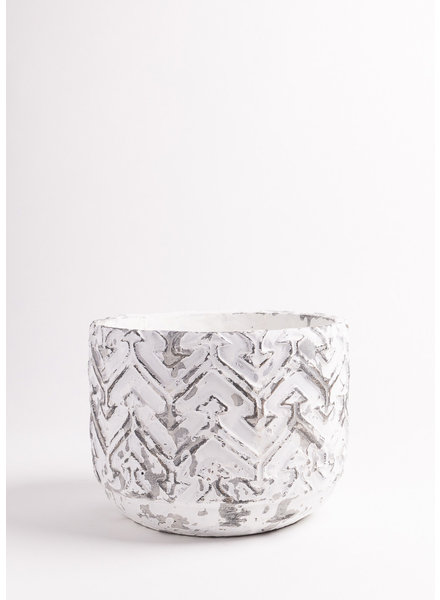"White Chevron Pot  8""x5.75"""