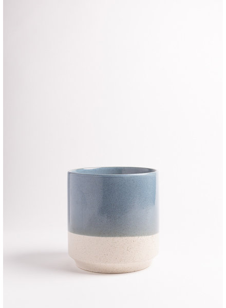 Large White Speckled Pot Dipped in Blue