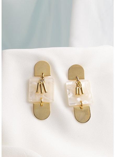 Mod & Jo Paige Acrylic Statement Earrings w/ White Shell