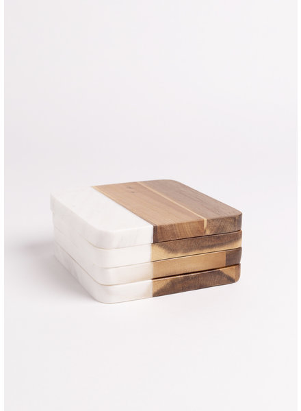 Marble and Acacia Coaster (set of 4)