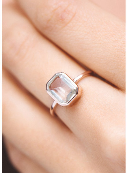 Emerald Cut Topaz Ring - Size 7