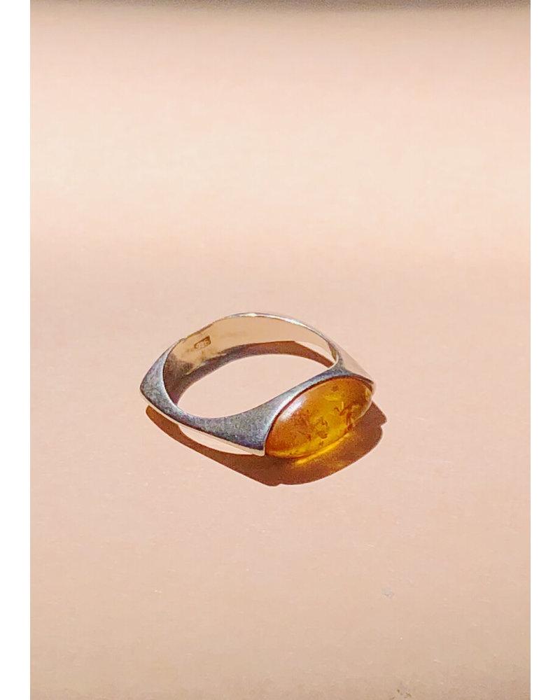 Vintage Amber Ring - Size 6.5
