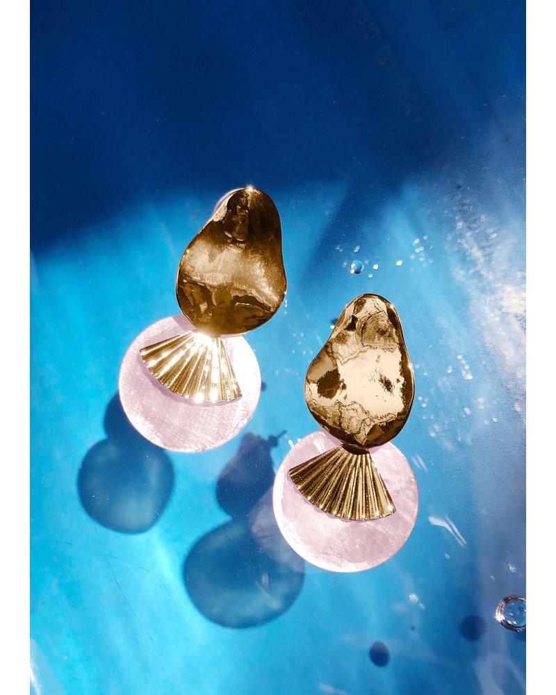 Pink Celeste Shell Drop Earrings