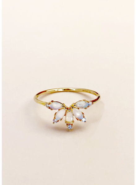 14kt Gold Diamond & Opal Parisian Butterfly Ring - Size 7