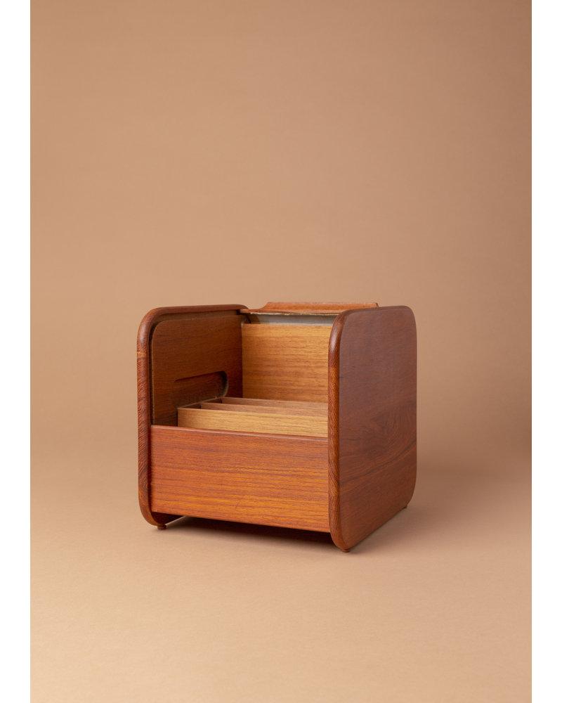 Vintage Teak Rolltop Recipe Box