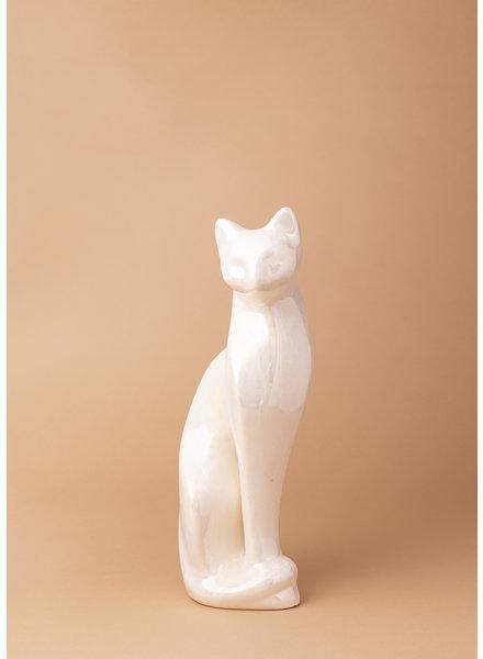 Vintage Pearlescent Ceramic Cat