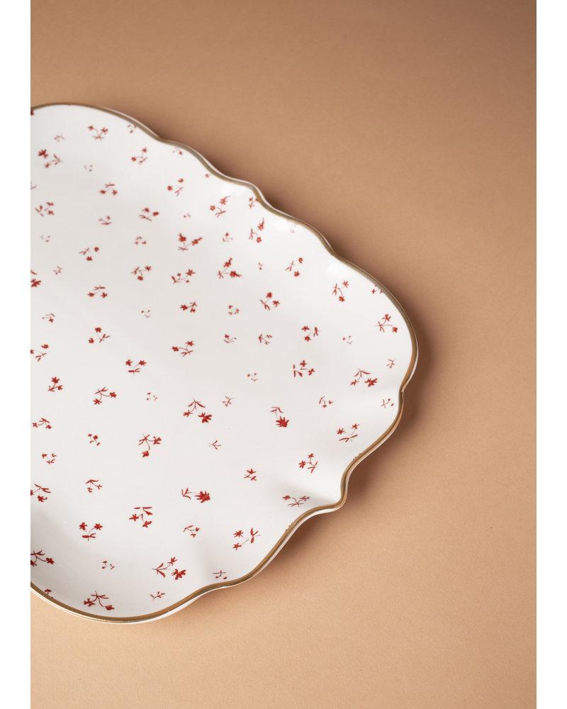Floral Pattern Stoneware Gold Trim Platter