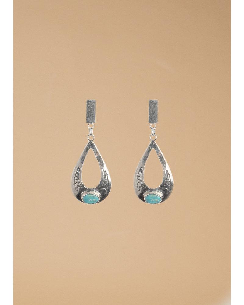 Vintage Sterling Silver Teardrop & Turquoise Earrings