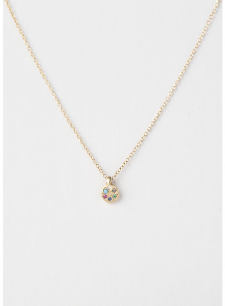 10k Gold Lolli Necklace with Mixed Stones