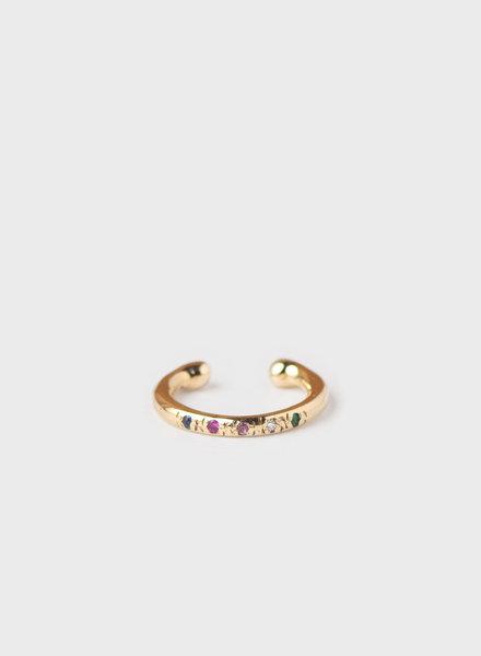 10k Gold Mixed Stone Ear Cuff