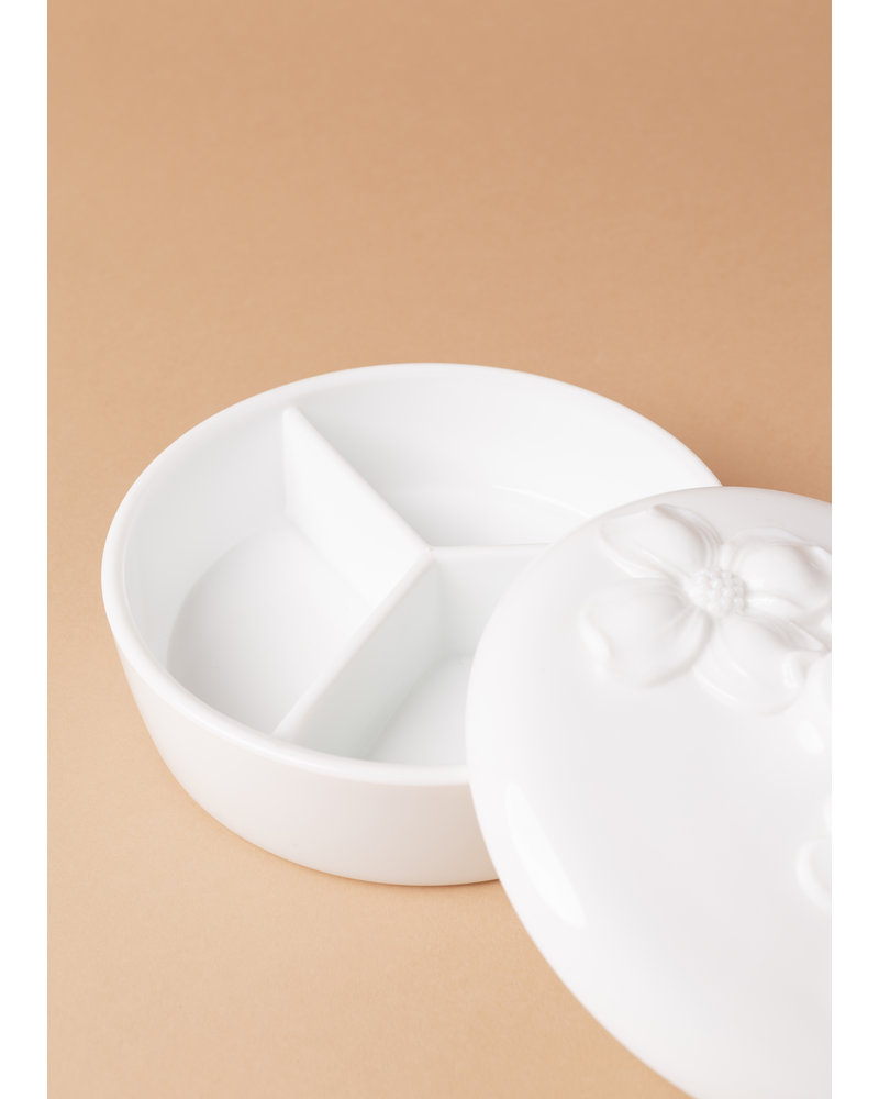 Floral Milk Glass Candy Dish