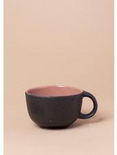 Black and Rose Stoneware Mug