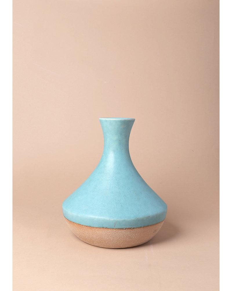 1960's Turquoise Textured Vase