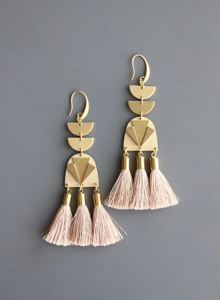 Tiered Half Moon with Beige Tassel Earrings