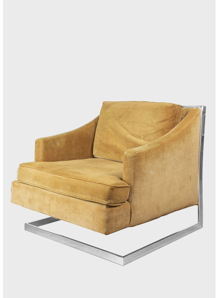 Vintage Mustard Velvet Accent Chair
