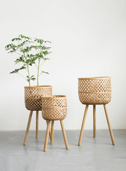 Woven Bamboo Plant Stands
