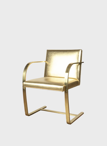 "Brass Guilded Mies van der Rohe ""Brno"" Chair"