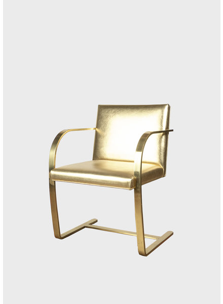 """Brass Guilded Mies van der Rohe """"Brno"""" Chair"""