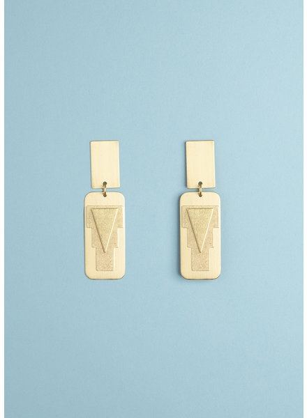 Rectangle Drop Arrow Earrings