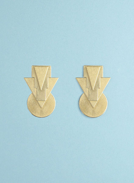 Brass Layered Triangle Earring