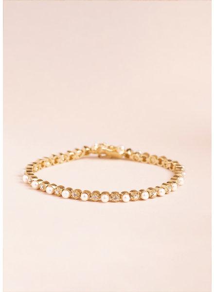 Vintage Pearl & Diamond Tennis Bracelet