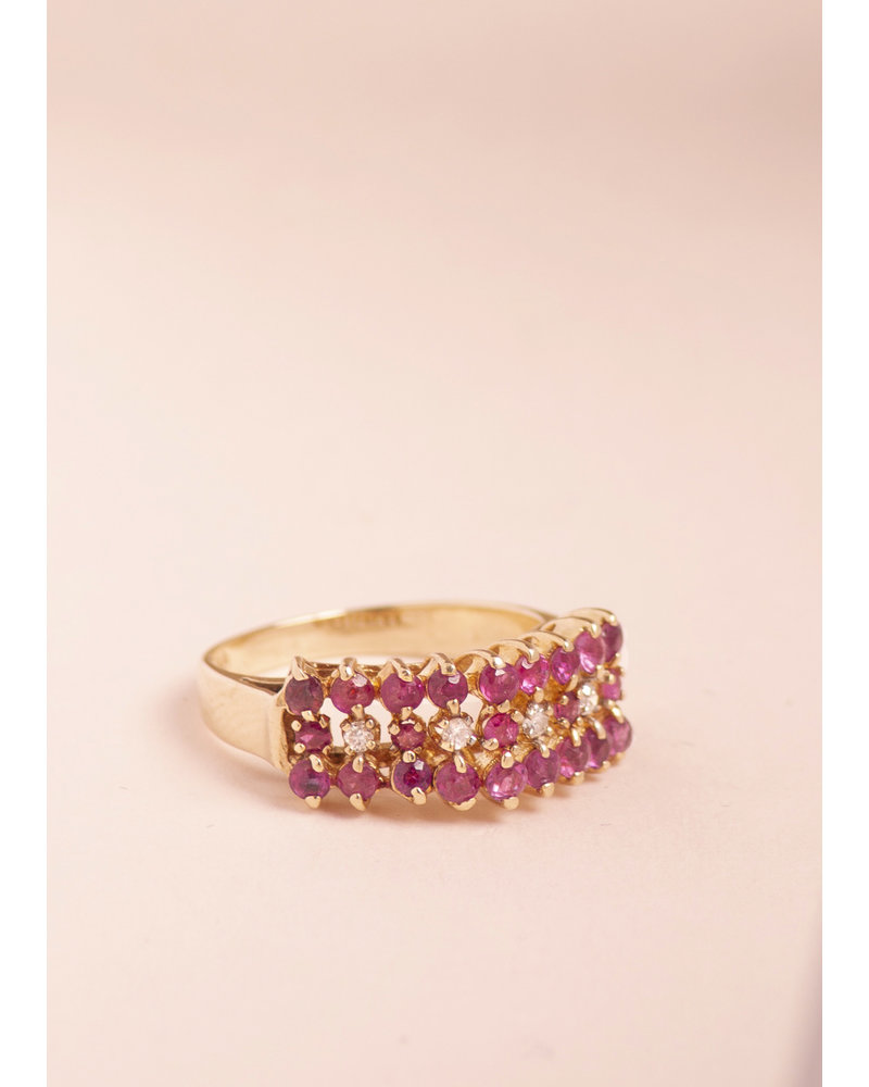 Vintage Ruby Cluster & Diamond Ring - Size 5