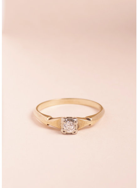 Vintage Mixed Gold Diamond Ring - Size 6.5