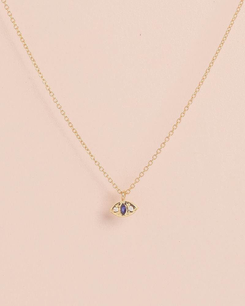 Marquise Sapphire Cat Eye Necklace