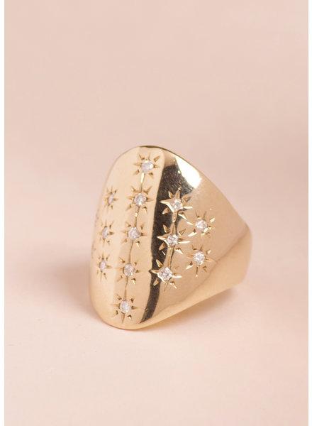 Antique Diamond Shield Ring